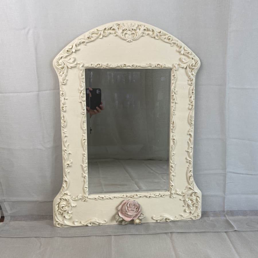 Carved Vintage Timber Mirror $49