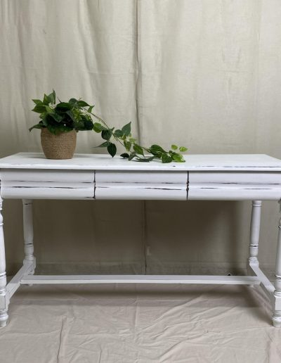 White Distressed Hall Table